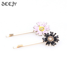 SCCJY 1pc Alloy Daisy Flower Hair Clip Black Purple Barrette Hairpin for Wedding Hair Accessories A8R5C