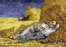 Vicent Van Gogh artwork the siseta in harvest season print on canvas for home decoration,free shipping