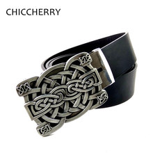 New Fashion Cool Unisex Belts Western Celtic Knot Braided Art Brand Design Metal Belt Buckles For Men Women Jeans Casual Dress