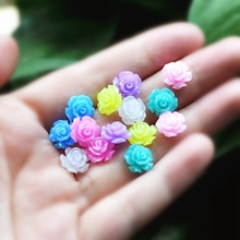50pcs/Lot Mix Colors 10 Design Cabochons Botoes Flat Back Resin Rose Flowers For DIY Phone Decoration and Earring Accessory(China)
