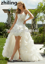 High Low Wedding Dresses Organza Ruffhles Short Front Long Back Wedding Dress Sexy See Through Waist Bridal Gown