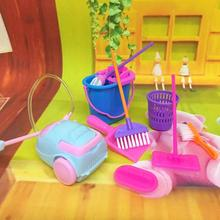 LeadingStar 9Pcs Simulation Home Cleaning Tools Playset Mini Floor Broom Mop Dust Collector Toy for Kids Pretend Play(China)