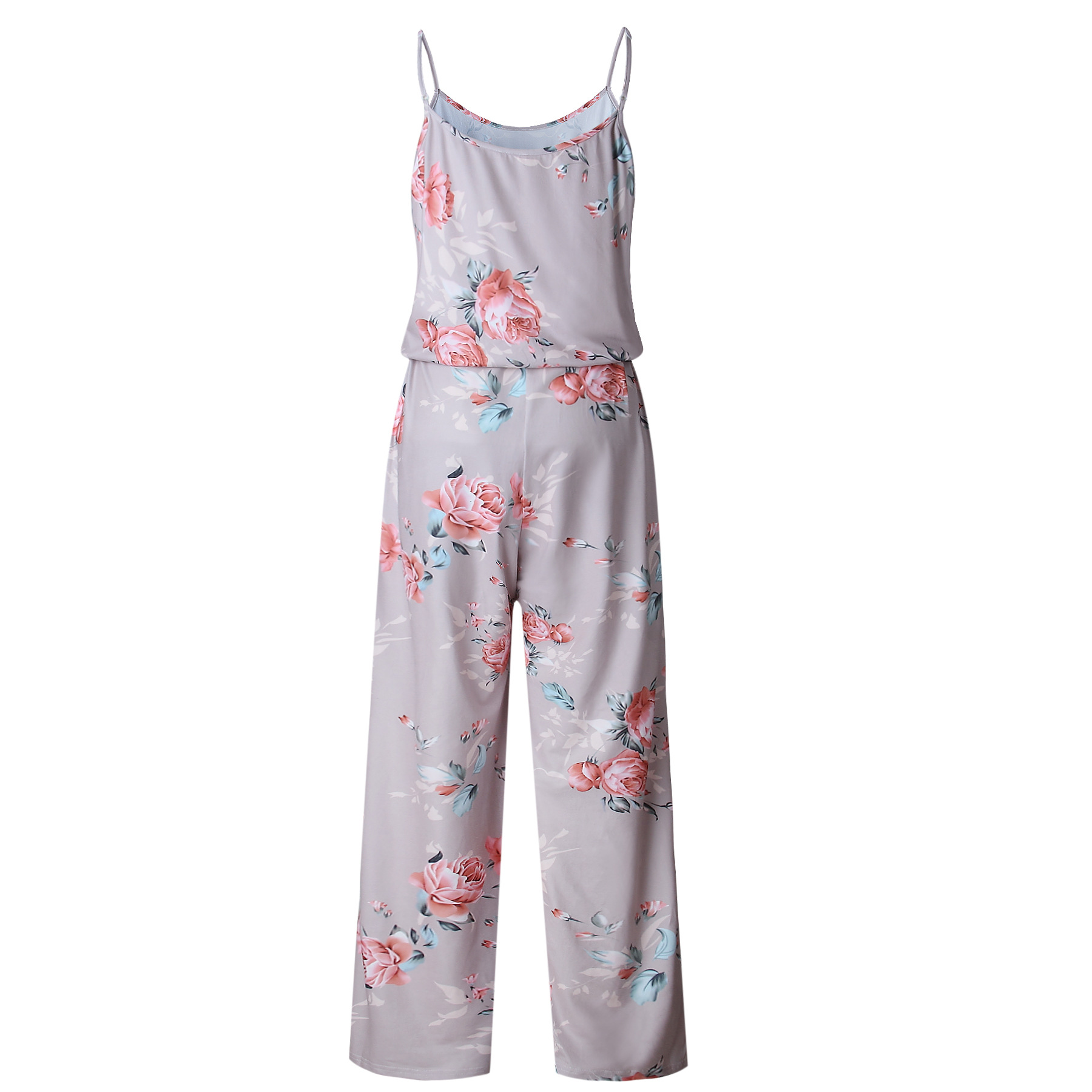 Spaghetti Strap Jumpsuit Women 2018 Summer Long Pants Floral Print Rompers Beach Casual Jumpsuits Sleeveless Sashes Playsuits 33