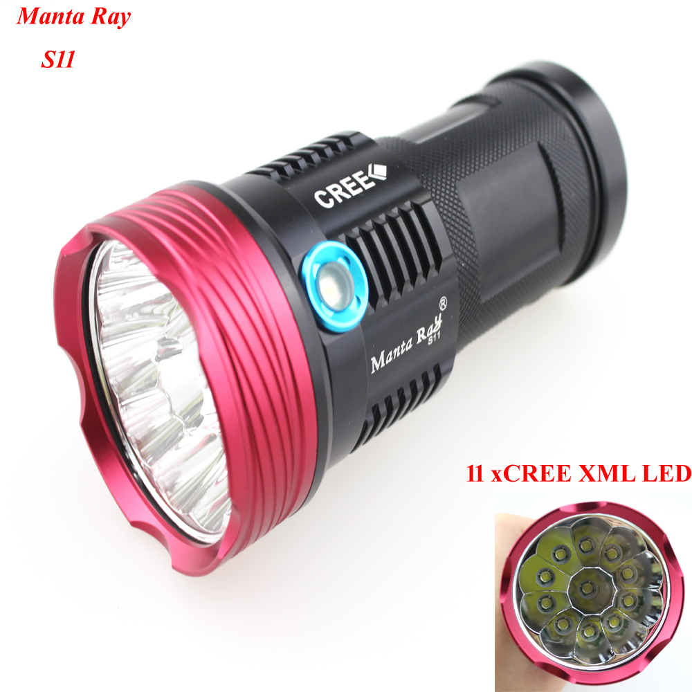 Manta Ray S11 11xCREE XML 11000lm 3-Mode LED Flashlight (1x18650/2x18650/3x18650/4x18650)<br>