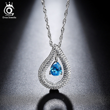 ORSA JEWELS Women Silver Necklaces with Charm Water Drop Blue Crystal 2017 New Fashion Zircon Necklaces Special Gift ON121