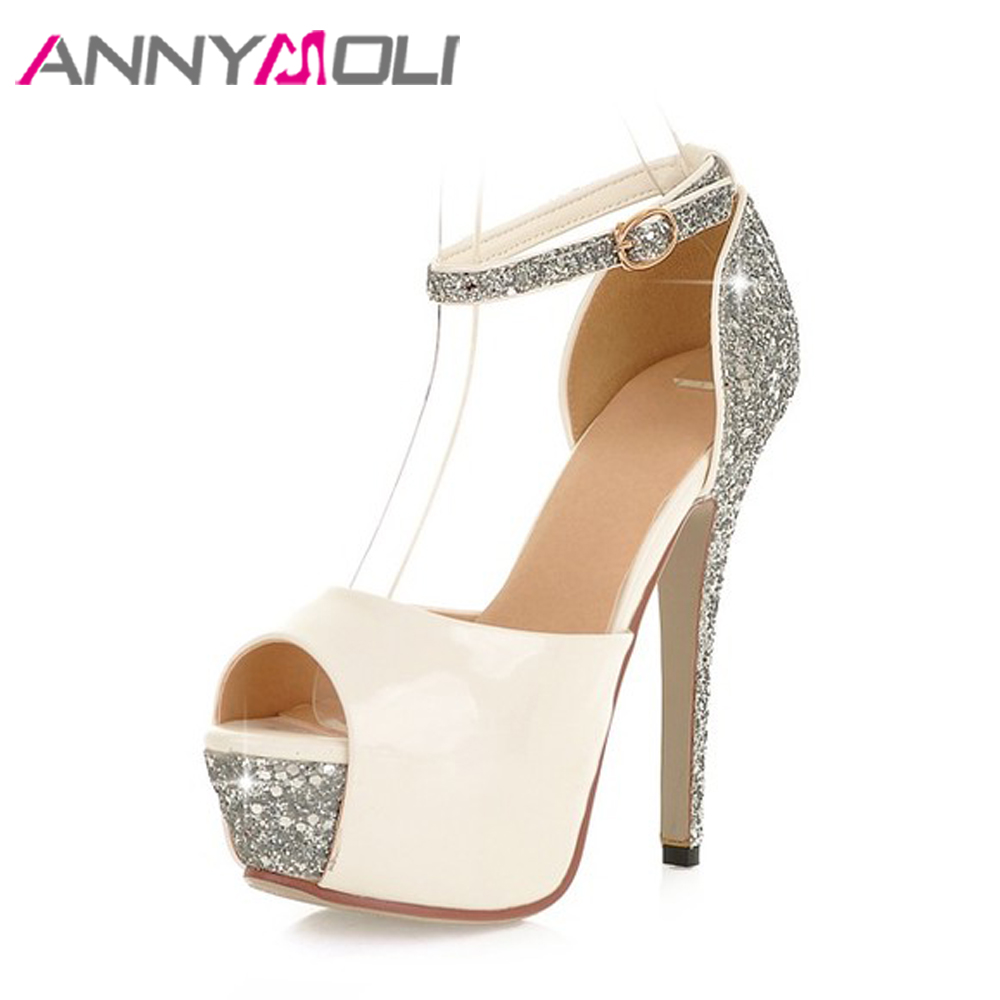 ANNYMOLI Sexy Platform High Heels Ankle Strap Extreme High Heels Shoes Bling Party Wedding Shoes Peep Toe Bridal Pumps White<br>