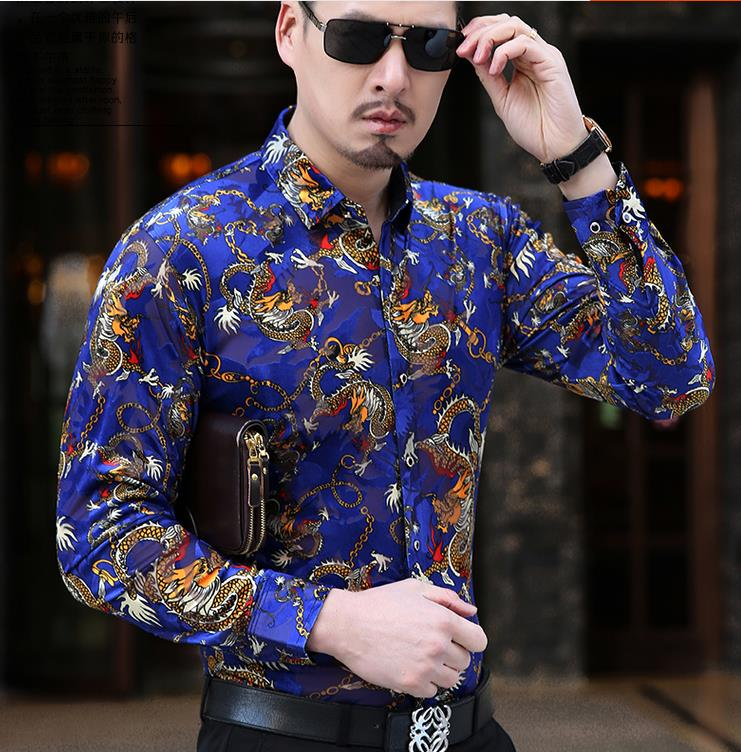 Men's Casual Long Sleeve Dragon Print Design Silk Shirts Men Thin Soft Velvet Shirt Slim Fit Comfortable