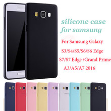 Pink Black Solid Candy Color TPU Silicone Rubber Case For Samsung Galaxy A5 A7 2017 2016 S6 S7 Edge S8 Plus Grand Prime Cover(China)
