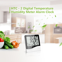 HTC - 2 LCD Digital Thermometer Hygrometer Indoor Outdoor Electronic Temperature Humidity Meter Alarm Clock Weather Station