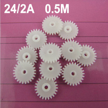 (100pcs/lot) main axle single layer gears 242A 0.5M 24 teeth for 2mm shaft tight fitting toy cars motor gear