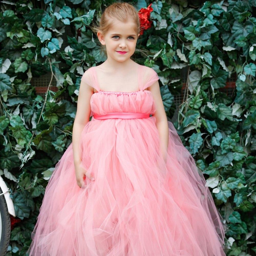 Empire waist Blush Pink Flower Girl Bridesmaid Tutu Dress and matching Flower Headband<br>