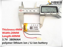 2pcs [SD] 3.7V,380mAH,[402040] Polymer lithium ion / Li-ion battery for TOY,POWER BANK,GPS,mp3,mp4,cell phone,speaker