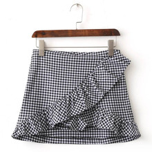 FIRSTTO Vintage Houndstooth Contrast Color Cross Ruffles High Waist Mini A-Line Short Skirt Irregular Hem Stylish Women