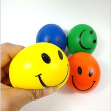 Dia 7cm Stress Ball Novetly Smile Face Print Squeeze Ball Hand Wrist Exercise Stress Ball PU Rubber Toy Balls