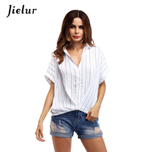 Europe High Street Fashion V-neck Vertical Striped Female T-shirt Casual Loose Short-sleeved T-shirts for Women Summer Blusas