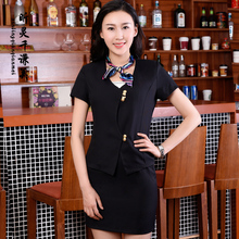 Hotel Reception Service Work Summer Female Beautician Foreman Manager Cashier Occupation Clothing Suit Airline Stewardess J171(China)
