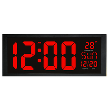 Electronic LED wall clock with thermometer Large screen digital clock memory function clock Living room decoration wall clock(China)