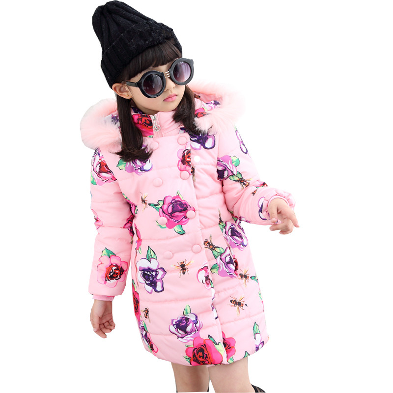 2017 Girl Winter Warm Print Flower Coat Girl Long Sleeve Fur Hooded Fashion Long Down Clothes Kid School Winter Casual Coat<br>