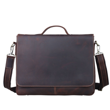 15 inch Retro Crazy Horse Leather Briefcase Genuine leather Business bag Men Carrying Handbag Tote for Men Fits Laptop