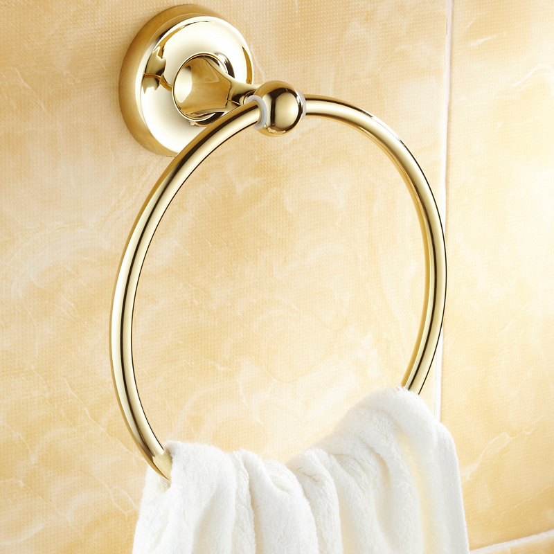 Gold/Silver Polished Towel Holder Luxury Solid Brass Simple Wall Mounted Bathroom Towel Ring Bathroom Accessories LG10<br>