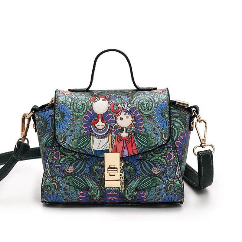 Small Tote for Women Messenger Bags Fashion Printing Trapeze Packs sac Female Mini Handbag Bolsa Lady Hasp Leather Shoulder Bag<br><br>Aliexpress