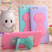 KISSCASE Case For iPhone 7 6S Plus Lovely 3D Bow-knot Soft Silicon Case For iPhone 6 6S 5 5S 4 4S Candy Color Stand Holder Cover(China)