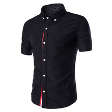Men Shirt Designer Brand 2017 Male Short Sleeve Shirts Casual Slim Fit Black Dress Shirts Mens Hawaiian 3XL 3656