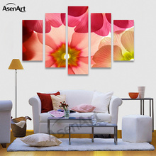 5 Panel Wall Art Canvas Prints Artwork Red Flower Painting Picture for Living Room Bedroom Wall Decor Unframed(China)