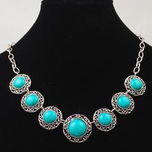 Vintage Chain Hollow Round Green Stone Necklaces & Pendant Tibetan Silver Collar Choker Statement Necklace Women