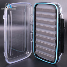 Maximumcatch 185*120*40mm Slit Foam&Easy-Grip Foam Fly Fishing Box Double Side Waterproof Plastic Tackle Box Transparent Fly Box