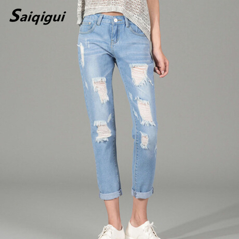 Saiqigui 2017 Summer New jeans woman Ripped Holes Fashion Straight Capris Mid Waist Famale Washed Denim Pants Cotton TrousersОдежда и ак�е��уары<br><br><br>Aliexpress