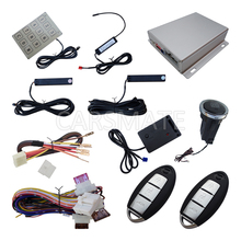New PKE Car Alarm System With Shock Sensor Remote Start Push Button Start Auto Central Door Lock Used For All 12v Cars
