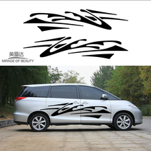 2 X Abstract Impressionist Art Stripes Chaos Traces of Car Stickers for Motorhome Camper Van Trailer Truck Vinyl Decal(China)