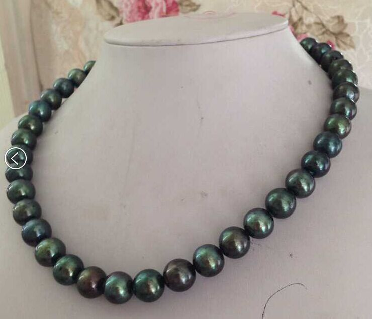 free shipping gorgeous AAA10-11mm  round black green pearl necklace 19inch 14k