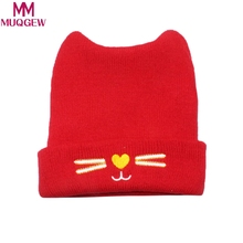MUQGEW Fashion Warm Baby Hats Cute Cat Ear Newborn Knitted Hat Beanie Caps Autumn Winter Infant Kids Boys Girls Cartoon Caps(China)
