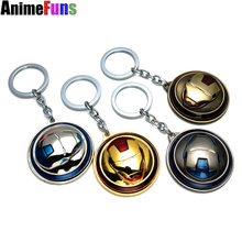 Dropshipping Marvel Super Hero The Avengers Iron Man Mask Keychain Rotatable Round 4 Colors Key Chain For Valentine Gift