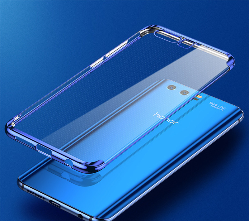 transparent plating soft silicone tpu case cover for huawei honor 9 8 pro  06