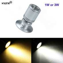 SXZM 1W 3W led spot light mini led downlight 10pcs/lot AC85-265V white or warm white cabinet led light RoHS CE
