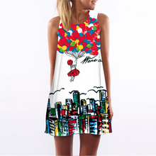 16 kinds print dress casual fashion sleeveless summer dresses 2017 new vestidos loose beach mini women dress(China)