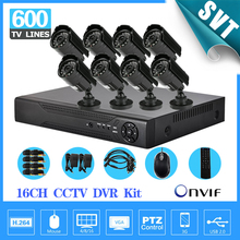 NVR Home CCTV Security 16CH H264 Network DVR Camera Video system 8pc Day Night Waterproof Camera H.264 DVR DIY Kit ,HDMI,3G,WIFI