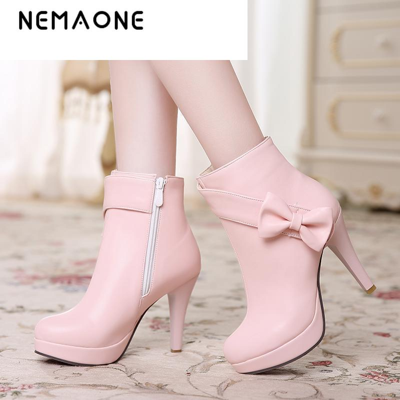 NEMAONE 2017 Fashion sweet Style Women boots Design Round Toe Platform boots Thin High Heels Women Ankle Boots Party Shoes<br>