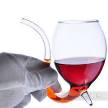 Glasses New Hot Sale Stylish Red Wine Glass Vodka Shot Cup Whiskey Glassware Drinking Tube Mug Sucking For Barware(China)