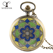 Antique Style Pocket Watch Jade Crystal Alloy Case with Necklace Chain Watches for Women Lady Girl Kids Cat Cool Gift(China)
