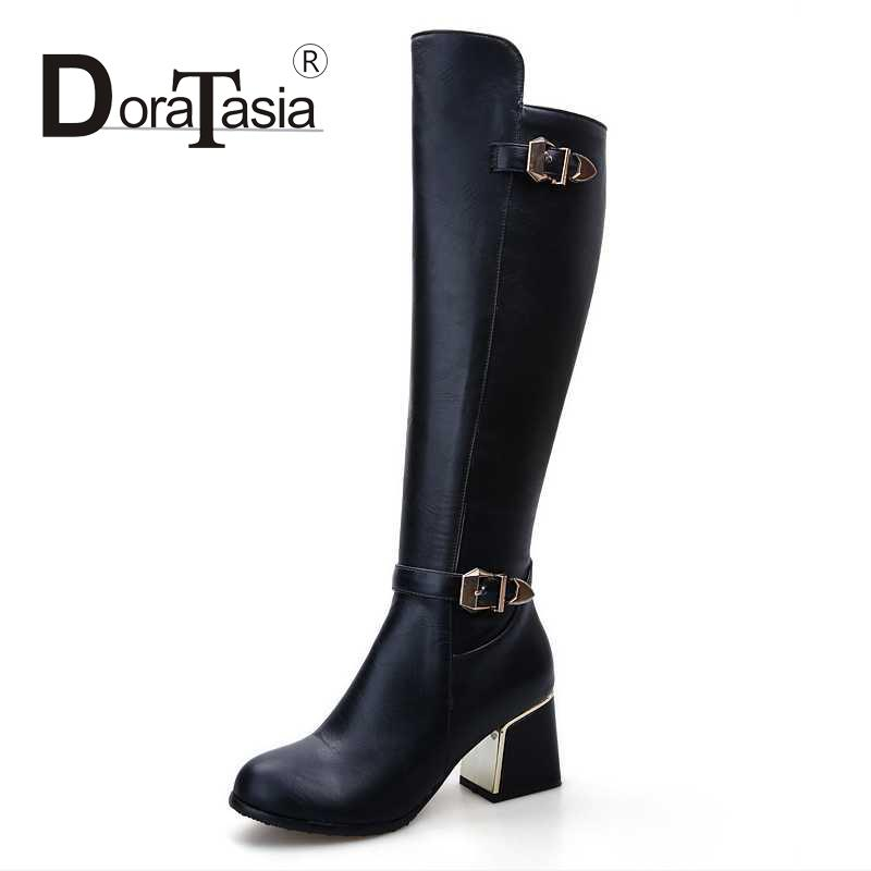 Round Toe Women Shoes Plus Size 34-43 Casual Knee High Boots Woman With Buckle Med Thick Heels Ladies Black Shoes Knight Boots<br><br>Aliexpress
