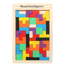 Wooden Tangram Brain Teaser 3D Puzzle Toy Tetris Preschool Magination Intellectual Educational Kids Toy Colorful Jisgaw Board(China)