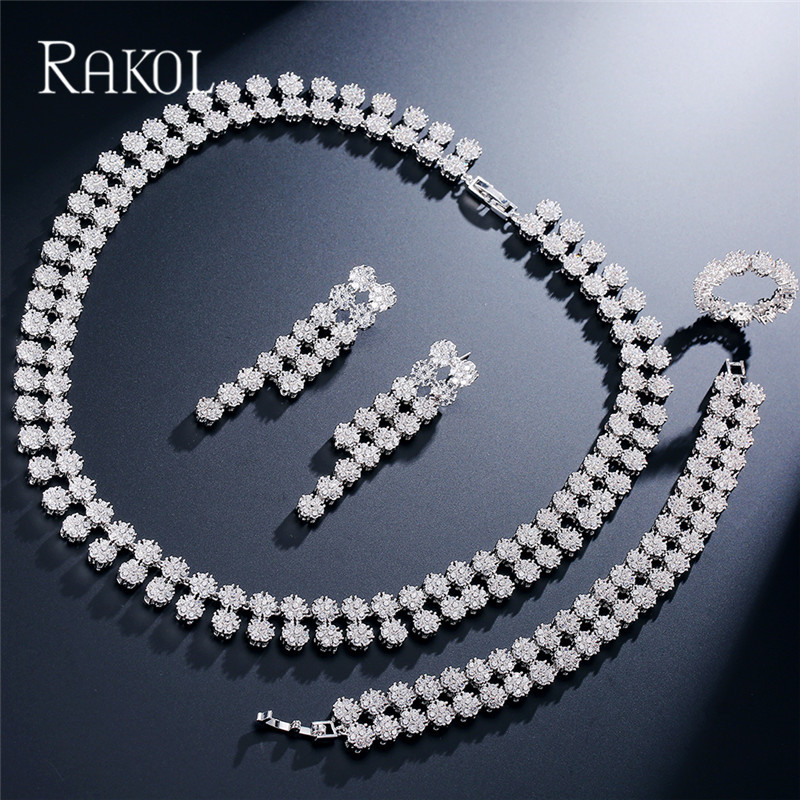 RAKOL Round  Shape Cubic ZIrconia Dubai Necklace Earrings Bangle And Ring Jewelry For Women Wedding  Luxury Jewelry Set