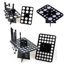 14/26/42 Holes Black Acrylic Makeup Brushes Holder Stand Collapsible Air Drying Makeup Brush Organizing Rack Cosmetic Holder(China)