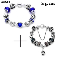 Dequeen 2pcs/set Charm Bracelets Special Price 1pcs Crown + 1pcs  Crowns Pendant Fit pan Bracelet Charms And Beads Bracelet