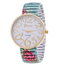 WAOUKS The new fashion printing elastic bracelet ring watch the rural wind broken steel belt table ladies leisure watch(China)