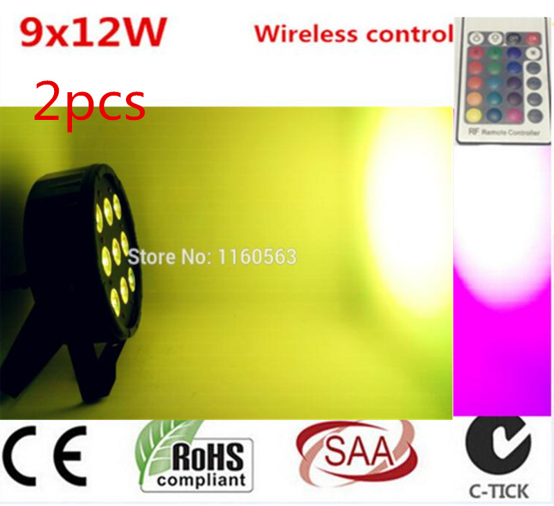 2pcs Wireless remote control LED Par CREE 9x12W 4in1 RGBW Led Stage Light LED Flat SlimPar Quad Can With DMX512 Flat DJ<br>